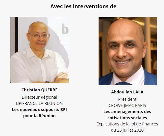 webinaire : Sortie de crise : les nouveaux soutiens financiers ! Avec l'intervention de Christian QUERRE (Bpifrance) et Adboullah LALA